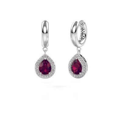 Picture of Drop earrings Barbar 1 950 platinum rhodolite 8x6 mm