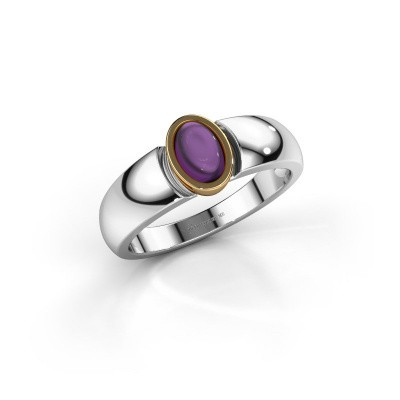 Ring Tonneke 585 witgoud amethist 6x4 mm