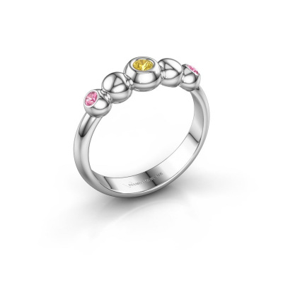 Stackable ring Lily 585 white gold yellow sapphire 2.5 mm