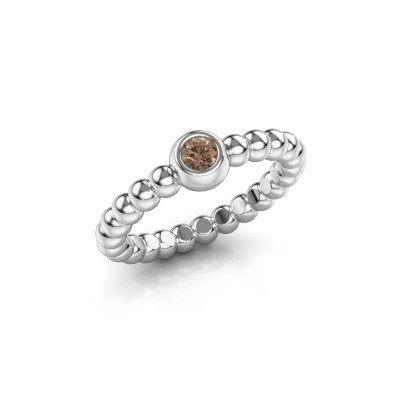 Stackable ring Dini 585 white gold brown diamond 0.10 crt