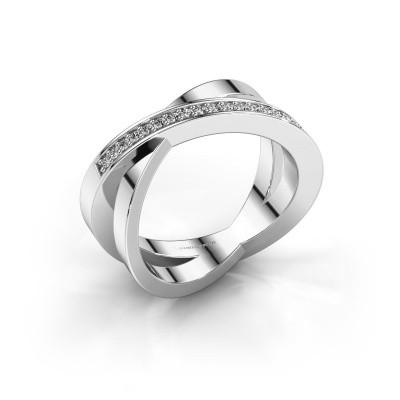 Foto van Ring Julie 585 witgoud zirkonia 1.2 mm