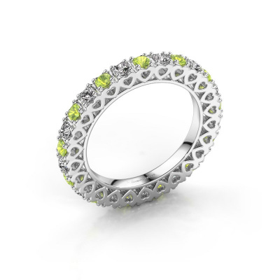 Stackable ring Hailey 585 white gold peridot 2.2 mm