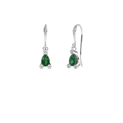 Picture of Drop earrings Bunny 2 950 platinum emerald 7x5 mm