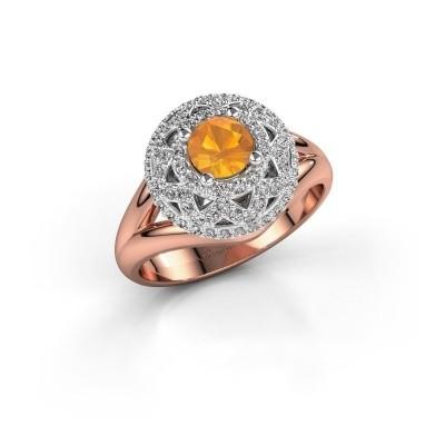 Ring Leonora 585 rosé goud citrien 5 mm