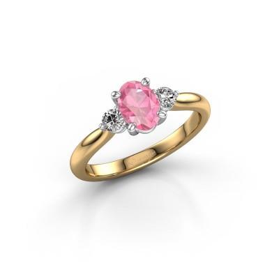 Foto van Verlovingsring Lieselot OVL 585 goud roze saffier 6.5x4.5 mm