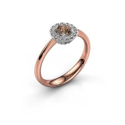 Verlovingsring Debi 585 rosé goud bruine diamant 0.44 crt
