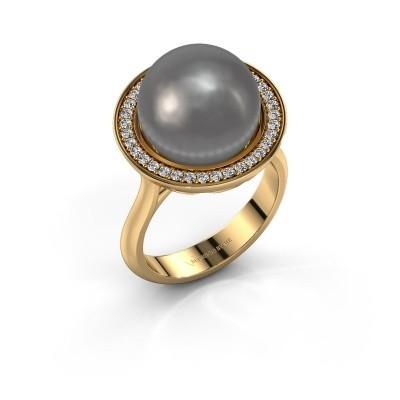 Foto van Ring Grisel 585 goud grijze parel 12 mm