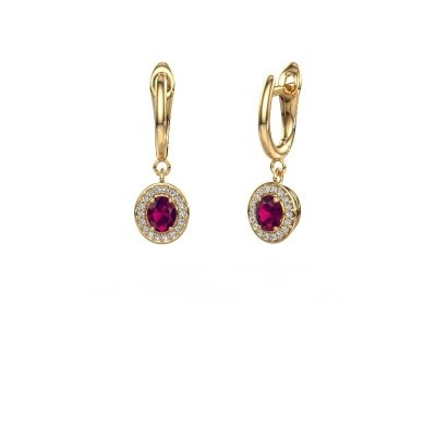 Drop earrings Nakita 375 gold rhodolite 5x4 mm