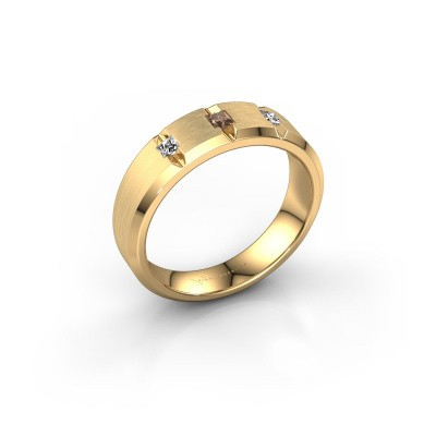 Mannen ring Justin 375 goud bruine diamant 0.20 crt