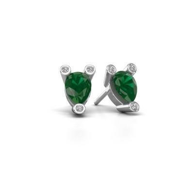 Picture of Stud earrings Cornelia Pear 925 silver emerald 7x5 mm
