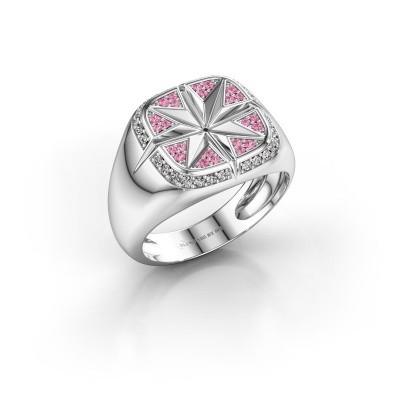 Heren ring Ravi 925 zilver roze saffier 1 mm
