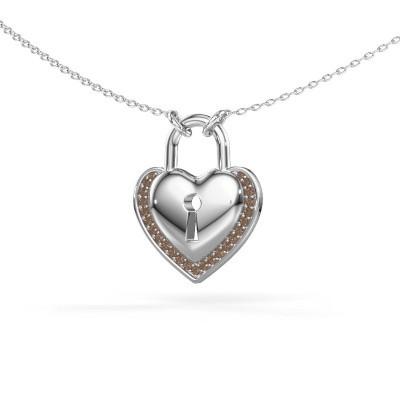 Foto van Halsketting Heartlock 375 witgoud bruine diamant 0.115 crt