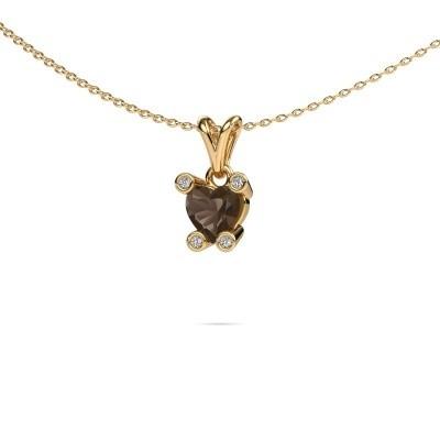 Foto van Ketting Cornelia Heart 375 goud rookkwarts 6 mm