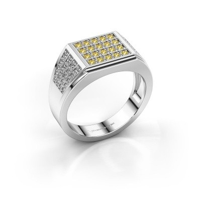 Picture of Men's ring Tim 950 platinum yellow sapphire 1.5 mm