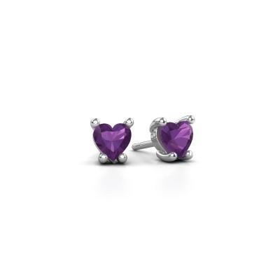 Picture of Earrings Sam Heart 925 silver amethyst 5 mm