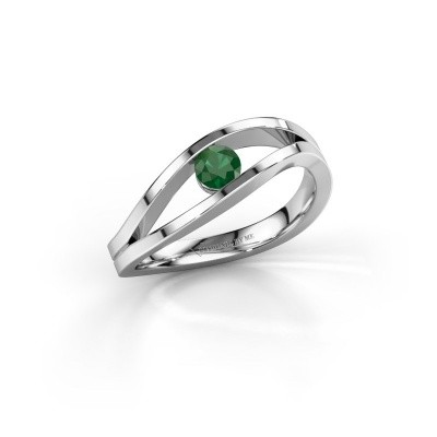 Foto van Aanzoeksring Sigrid 1 585 witgoud smaragd 3.7 mm