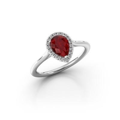 Engagement ring Monique 1 585 white gold ruby 7x5 mm