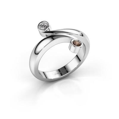Ring Hilary 950 platina rookkwarts 2.5 mm