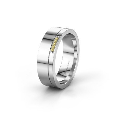 Huwelijksring WH0336L16A 585 witgoud gele saffier ±6x1.7 mm