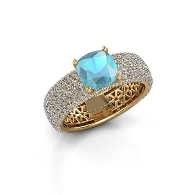 Verlovings ring Darcy 375 goud blauw topaas 7 mm