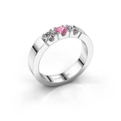 Foto van Verlovingsring Dana 3 585 witgoud roze saffier 3.4 mm