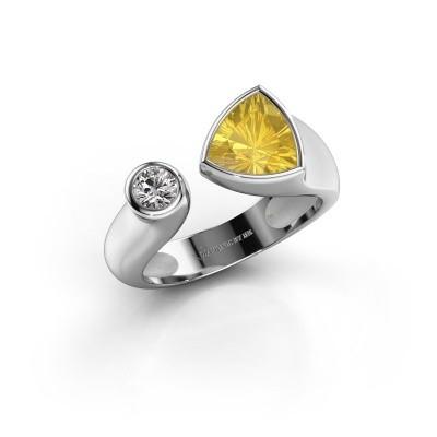 Ring Latisha 950 platina gele saffier 7 mm