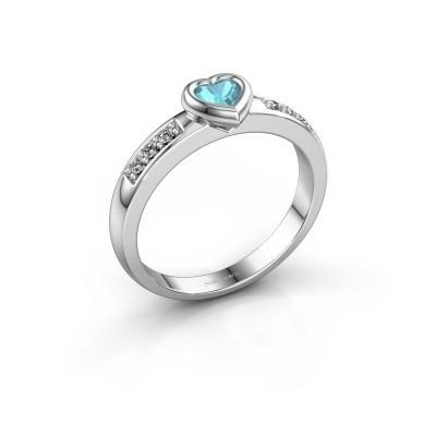 Foto van Verlovingsring Lieke Heart 925 zilver blauw topaas 4 mm