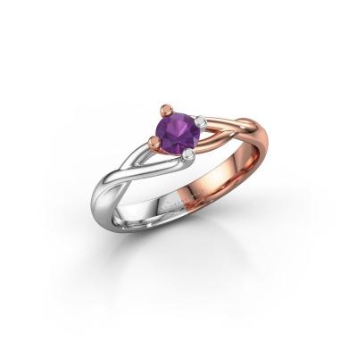 Foto van Ring Paulien 585 rosé goud amethist 4.2 mm