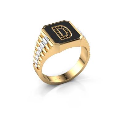 Foto van Zegelring Stephan 1 585 goud zwarte diamant 0.080 crt