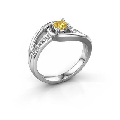 Ring Aylin 925 zilver gele saffier 4 mm