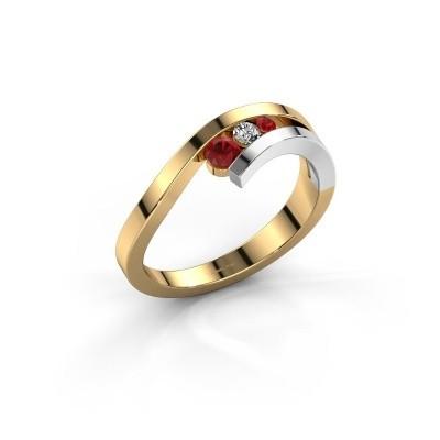 Ring Evalyn 2 585 goud robijn 2.8 mm