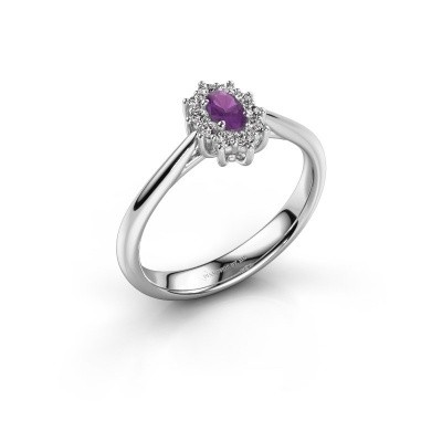 Picture of Engagement ring Leesa 1 925 silver amethyst 6x4 mm