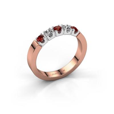 Engagement ring Dana 5 585 rose gold garnet 3 mm