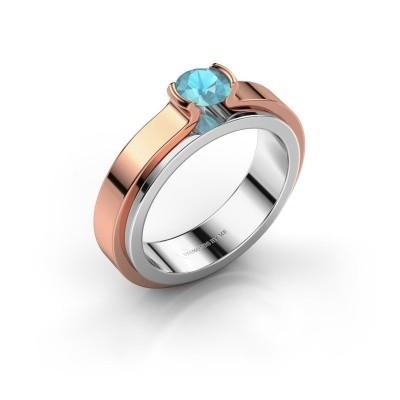Foto van Verlovingsring Jacinda 585 witgoud blauw topaas 4.7 mm