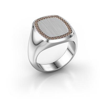 Heren ring Floris Cushion 4 375 witgoud bruine diamant 0.278 crt