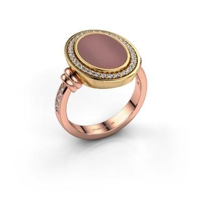 Foto van Heren ring Servie 585 rosé goud carneool 14x10 mm