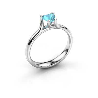 Engagement ring Dewi Heart 925 silver blue topaz 5 mm