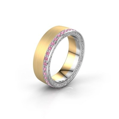 Wedding ring WH2224L26C8 585 gold pink sapphire 1.3 mm x2.2 mm