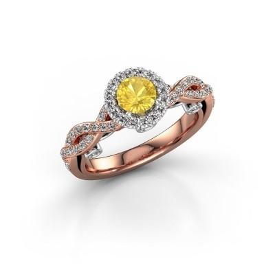 Foto van Verlovingsring Madeleine 585 rosé goud gele saffier 5 mm