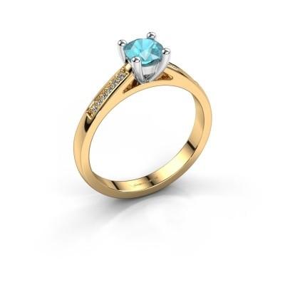 Engagement ring Nynke 585 gold blue topaz 4.7 mm