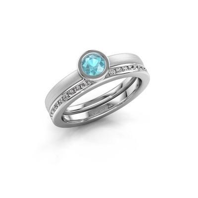 Foto van Ring Cara 585 witgoud blauw topaas 4 mm