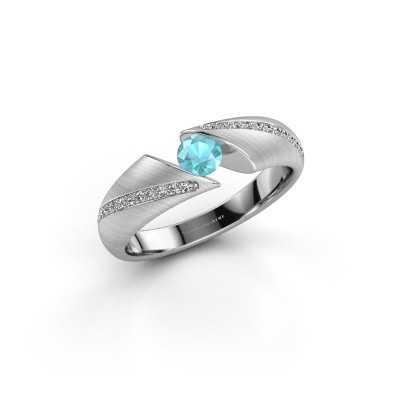 Foto van Ring Hojalien 2 585 witgoud blauw topaas 4 mm