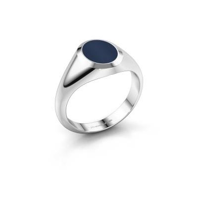 Foto van Pinkring Herman 1 925 zilver donker blauw lagensteen 10x8 mm