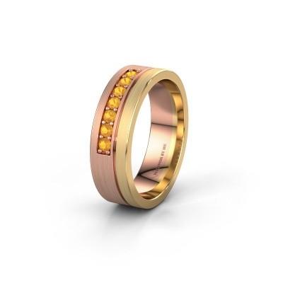 Trouwring WH0312L16AM 585 rosé goud citrien ±6x1.7 mm
