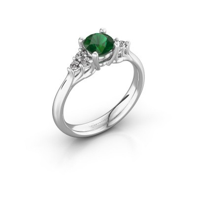 Picture of Engagement ring Monika RND 925 silver emerald 5.5 mm