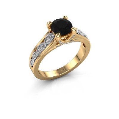 Engagement ring Clarine 585 gold black diamond 1.360 crt