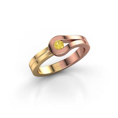 Ring Kiki 585 rosé goud gele saffier 3 mm