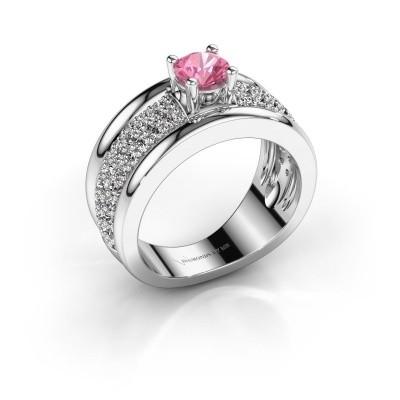 Foto van Ring Alicia 585 witgoud roze saffier 5 mm