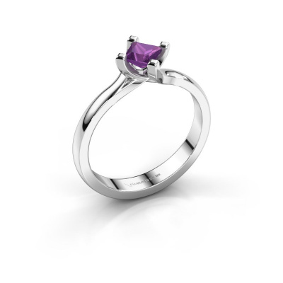 Engagement ring Dewi Square 585 white gold amethyst 4 mm