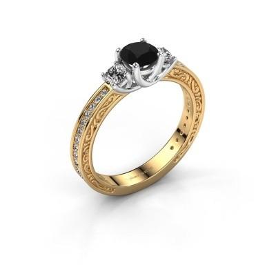 Verlovingsring Betty 2 585 goud zwarte diamant 1.057 crt
